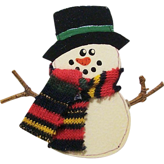 Arts & Crafts Hand Painted Signed Wooden & Twig Snowman Christmas Pin