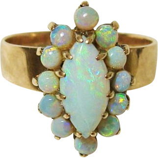 Exquisite 14K Rose Gold Natural Opal Halo Cluster Ring