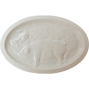 Huge Italian Ceramic Embossed Pigs / Sow ~ Piglet Serving Platter / Tray / Plate / Charger
