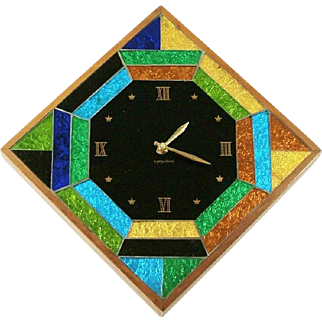 Rare & Retro Mid-Century Modern George Briard Signed Mosaic Foiled Art Glass Wall Clock