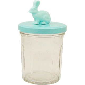 Whimsical Mason Style Glass Jar with Mint Green Twist Top and Bunny Rabbit Finial