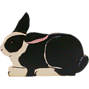Adorable Arts & Crafts Hand Carved and Painted Black & White Bunny Rabbit