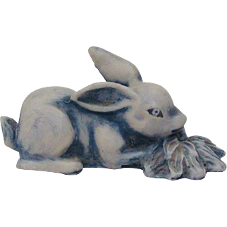 Delightful Vintage Handcrafted Bunny Rabbit Signed Figurine