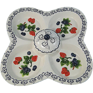 Ceramic Sectional Server Chip & Dip Blueberries Strawberries