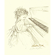 Sandra Kuck Print Girl Playing Piano Pencil Drawing Signed