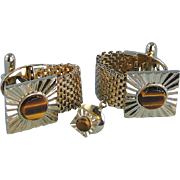 Cufflinks Tiger's Eye Stone Vintage Wrap-Around and Tie Tac