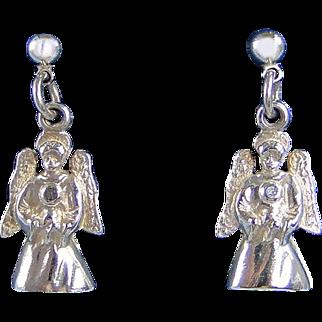 Angel World Sterling Silver Earrings Jewelry Vintage