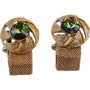 Cuff Links Rivoli Watermelon Stone Wrap-Around Style