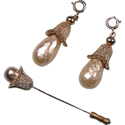 Sarah Coventry Fashion Parade Stickpin Faux Pearl Drops Vintage
