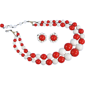 Vintage Coro Red White Necklace with Matching Clip Earrings 1950s