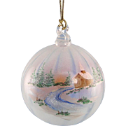 Fenton Glass Winter Aura Ornament French Opalescent
