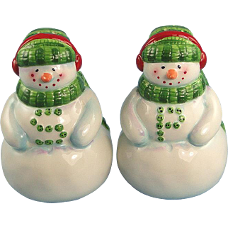 Snowman Salt Pepper Shakers Tim Coffey Design Vintage Holiday Christmas