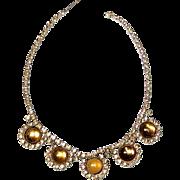 Vintage Topaz Rhinestone Necklace Amber Cabochons