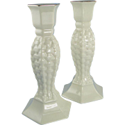 Lefton Porcelain Candlesticks Set of Two Basket Weave Gold Trim
