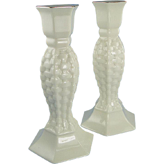 Lefton Porcelain Candlesticks Set of Two Basket Weave Gold Trim