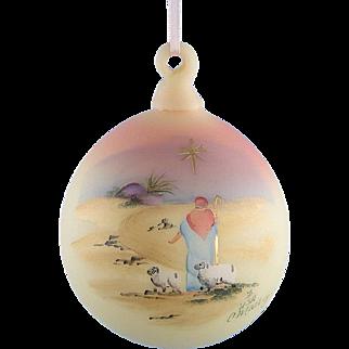Fenton Glass Burmese Ornament Silent Night Hand Painted Ron Hinkle