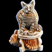 Harmony Kingdom Clair de Meow Cat Box Figurine & Signed Tour Button