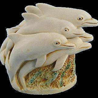 Harmony Kingdom Sunday Swim Dolphins Box Figurine Treasure Jest