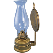 Vintage Metal Oil Lamp with Reflector and Glass Shade