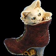 Harmony Kingdom White Heather Cat Treasure Jest Box Limited