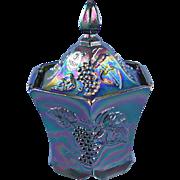 Fenton Glass Black Carnival Candy Box Grapes Design