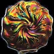Fenton GlassAcanthus Plate Black Marigold Carnival