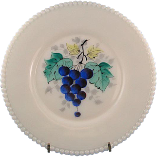 Westmoreland Beaded Edge Luncheon Plate Milk Glass Grapes Design