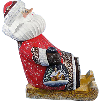 G. DeBrekht Russian Santa On Sled Wood Carved Masterpiece Series