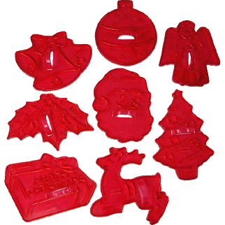 Vintage Christmas Cookie Cutters Set Red Plastic
