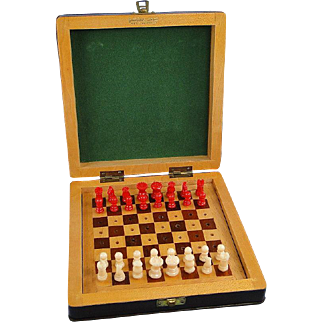 Vintage Chess Set Portable Leather Case