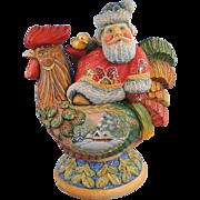 DeBrekht Santa on Rooster Box Russian Folk Art