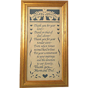 Framed Poem Scherenschnitte Mom and Dad Thank You