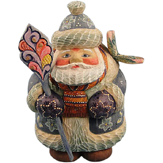 DeBrekht Butterfly Wishes Santa Russian Folk Art