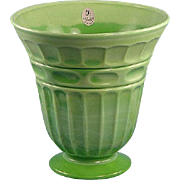 Fenton Glass Chameleon Green Vase in the Heritage Design