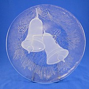 L E Smith Glass Platter Frosted Christmas Bells
