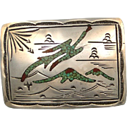 Vintage Silver Buckle Native American Design in Turquoise and Coral