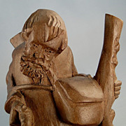 Wood Carving Traveler Old Man German Vintage Figure