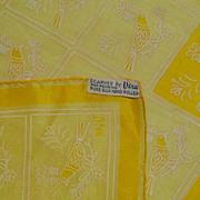 Vintage Vera Yellow Silk Scarf Birds 1950s