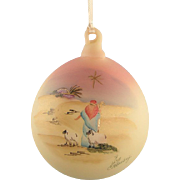 Fenton Glass Burmese Ornament Silent Night Hand Painted Ron Hinkle