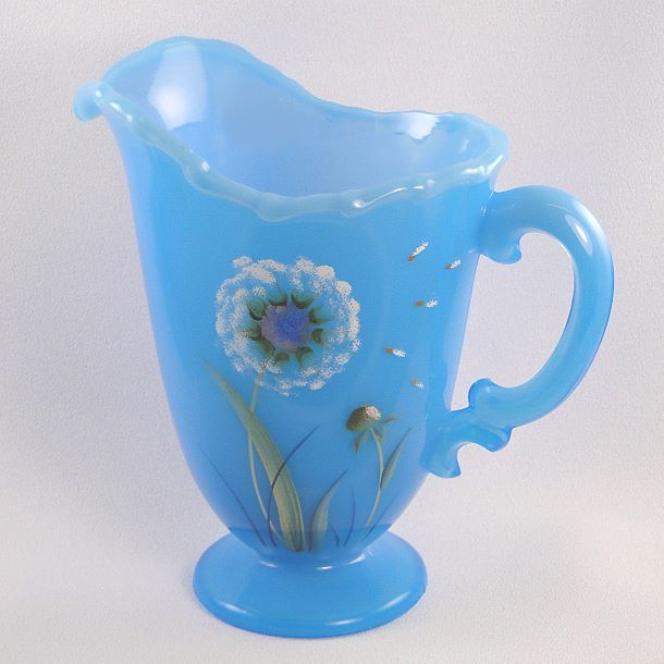 Fenton Glass Sky Blue Pitcher Dandelion Breeze Design
