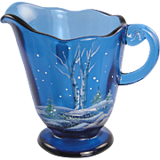 Fenton Glass Indigo Blue Pitcher Silver Birch Design