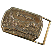 Remington Brass Buckle Hunting Dog Vintage Early Production