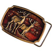 Koleaco Deer Brass Enamel Buckle Vintage Early Production Texas A-16