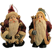 Boyds Folkstone Santa Ornaments Jingle Nick and Starry Starry Nick