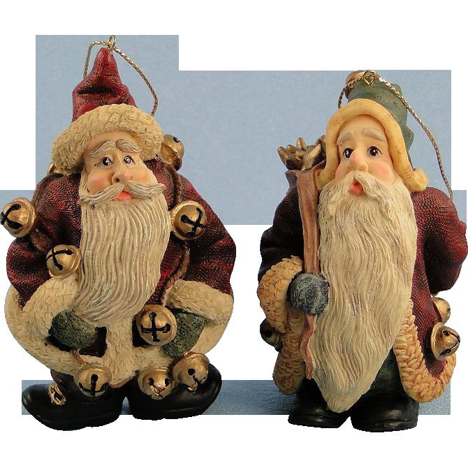Boyds Folkstone Santa Ornaments Jingle Nick and Starry Starry Nick