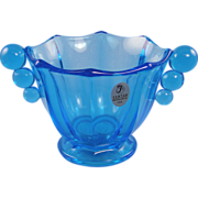 Fenton Azure Blue Nut Dish Bowl Panel & Ball Design