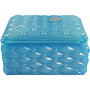 Fenton Sky Blue Trinket Box Glass Quilted Diamond Design