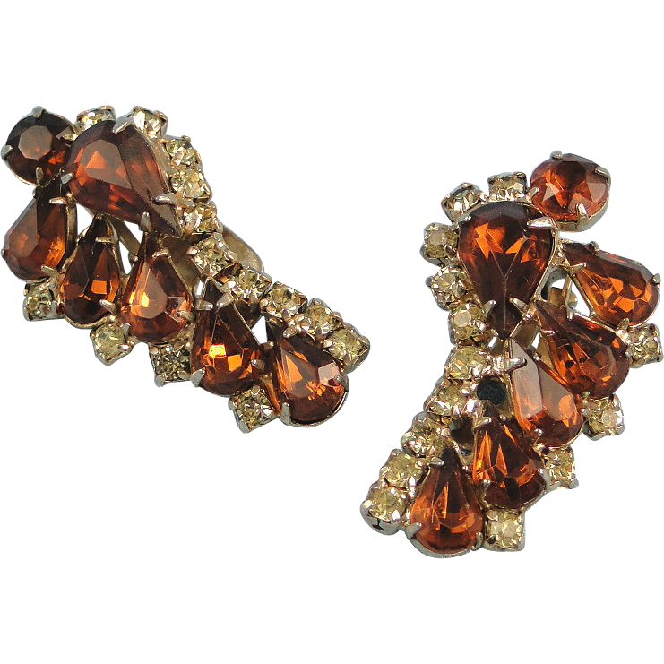 Vintage Clip Earrings Amber Stones Rhinestones Fall Colors