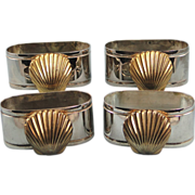 Four Silverplate Napkin Rings Seashell Decoration Vintage