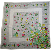 Vintage Silk Flowered Scarf Large Square